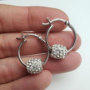 Jewelry - Sterling Silver White CZ Bead Hoop Earrings